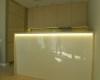 meble kuchenne mdf dąb bielony modyfikowany półwysep światło led lakobel
